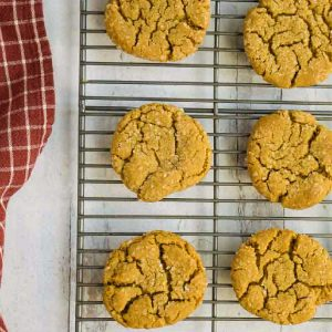 old fashioned molasses cookies on cooling rack