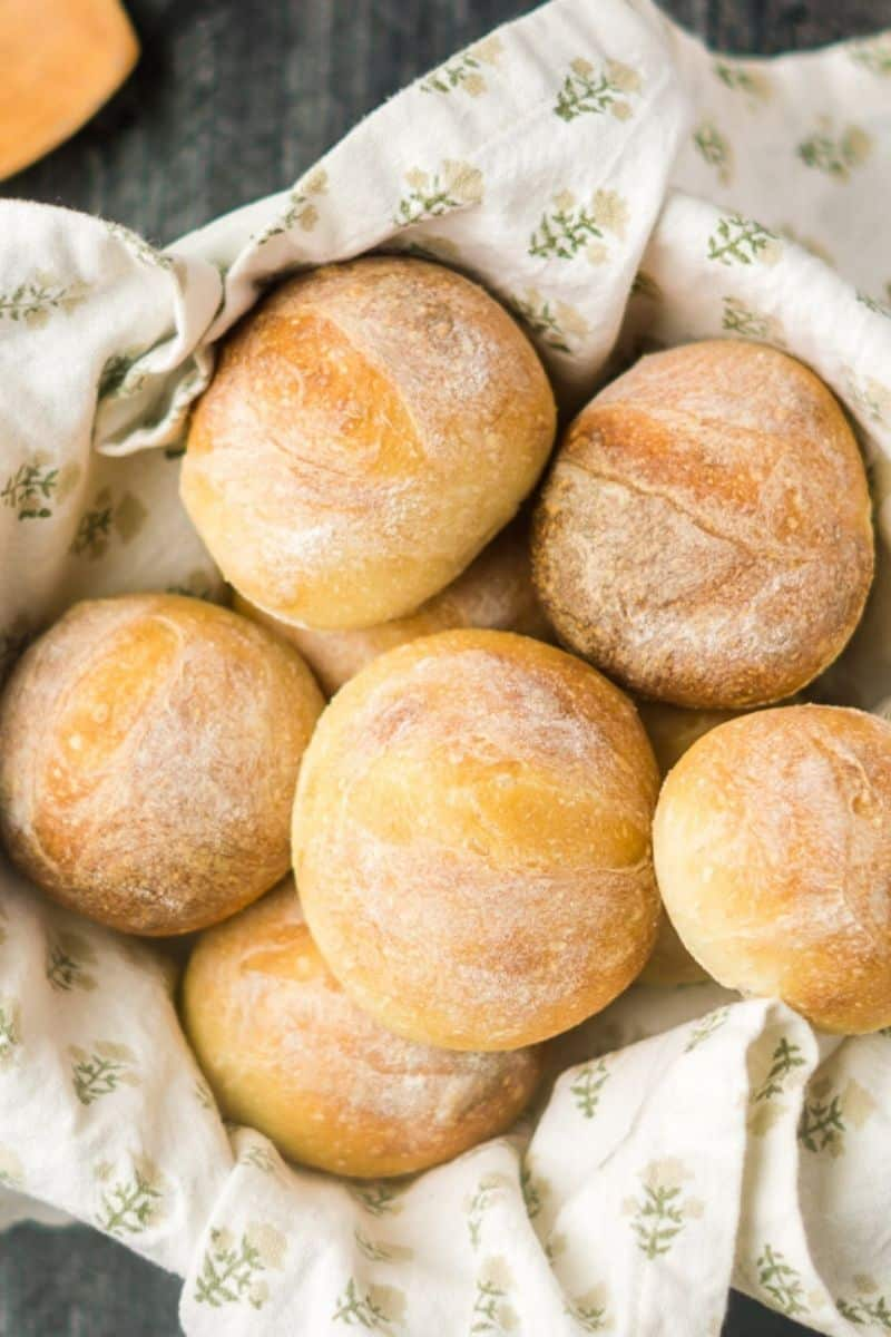 basket of sourdough rolls