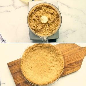graham cracker crumbs being pressed into crust