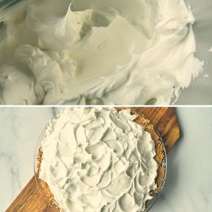 egg white meringue in bowl and on top of pie