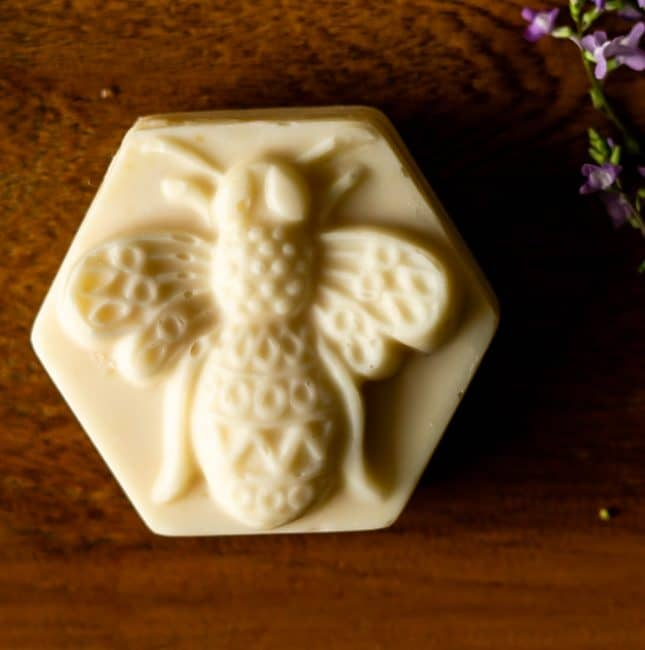 hexagon bar of home soap soap with bee design