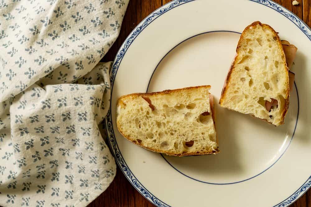 sandwich on artisan sourdough bread