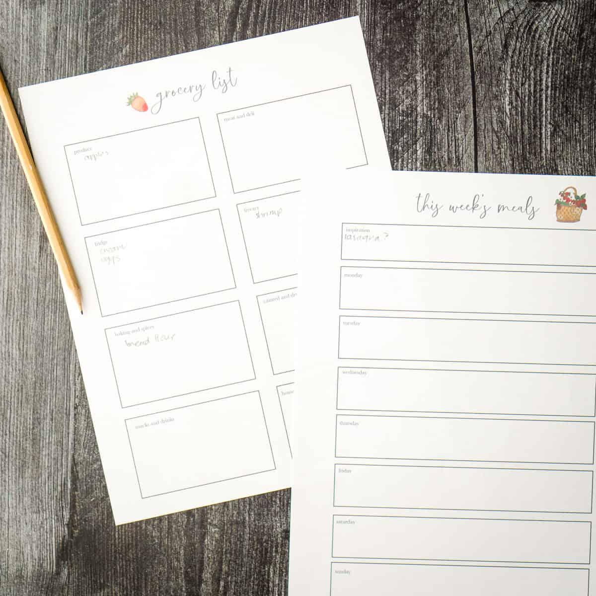 meal planning printable and pencil