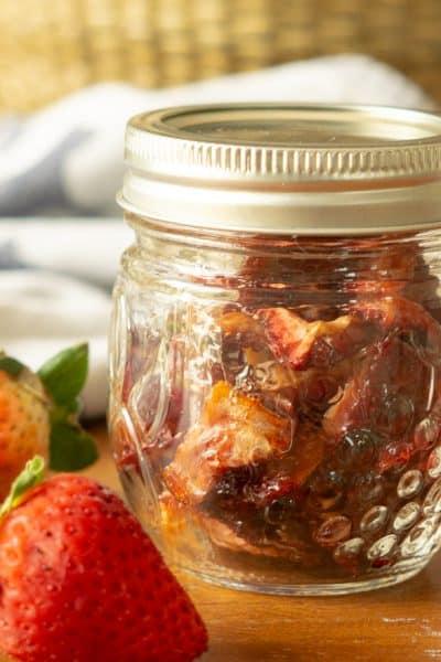 oven dried strawberries in mason jar