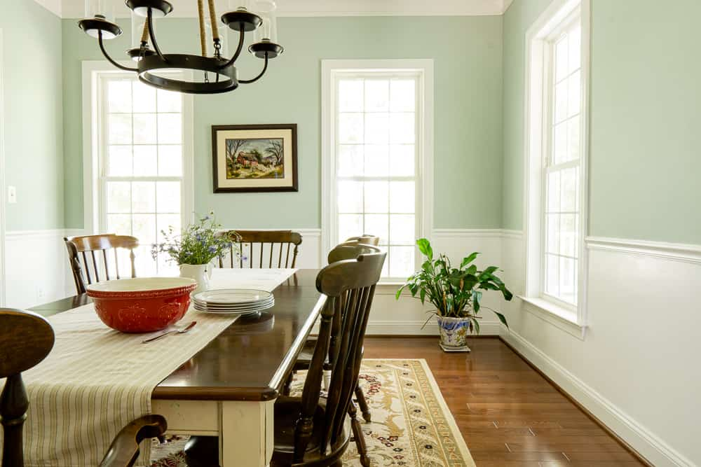 dining room painted Woodlawn blue with Chantilly lace on bottom half of wall