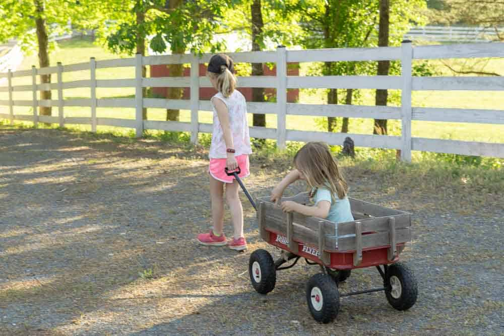 girls on gravel driveway, one in red wagon, one pulling