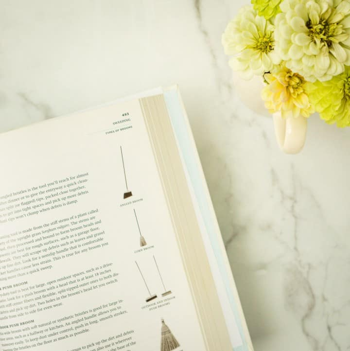 open book on marble counter