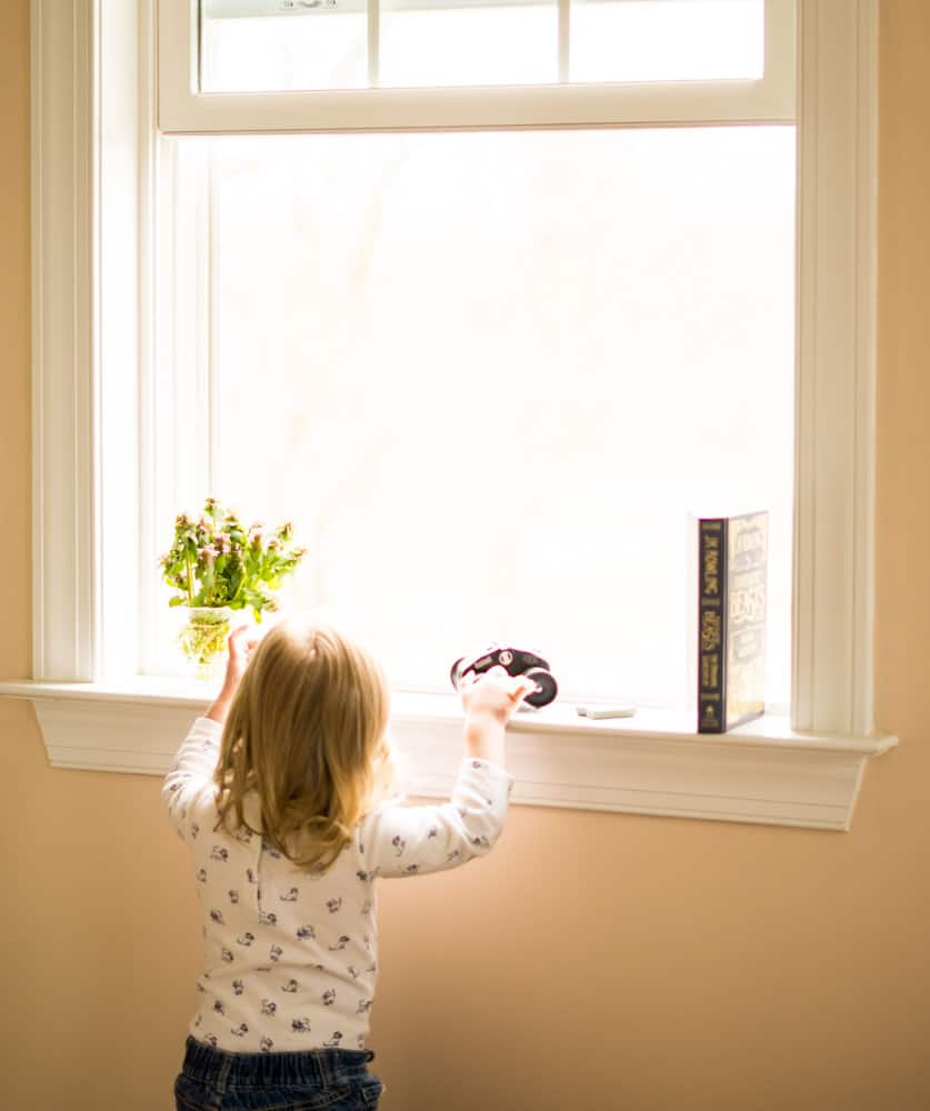 young girl in front of window, holding binoculars with book on windowsill.  Queen Anne pink walls.