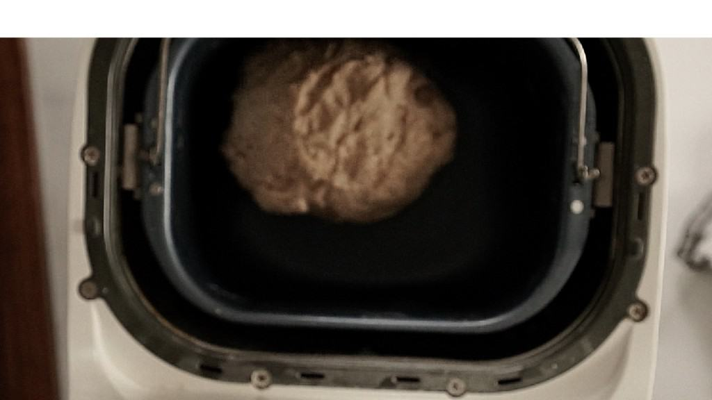 ball of whole wheat dough correctly formed in bread machine