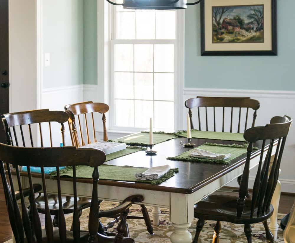 family dining room table set with no food on it