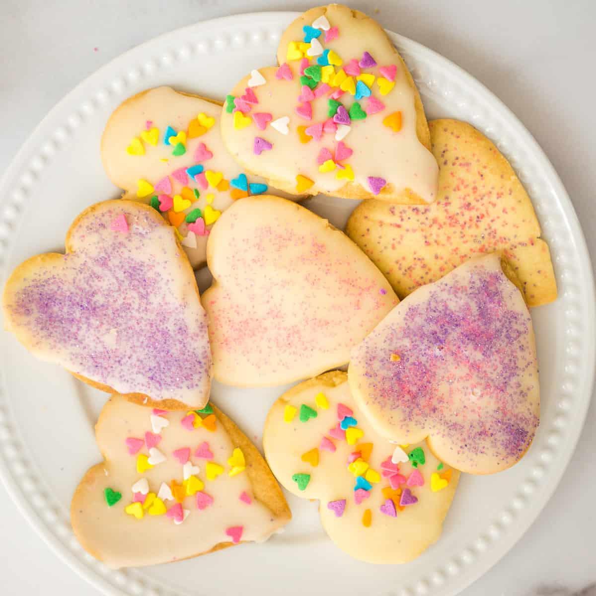 heart shaped sugar cookies on plate