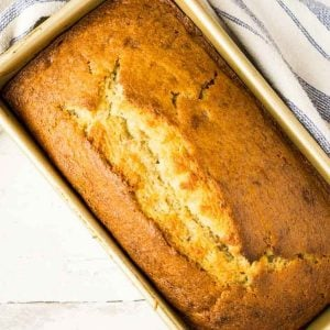 loaf tin with banana bread