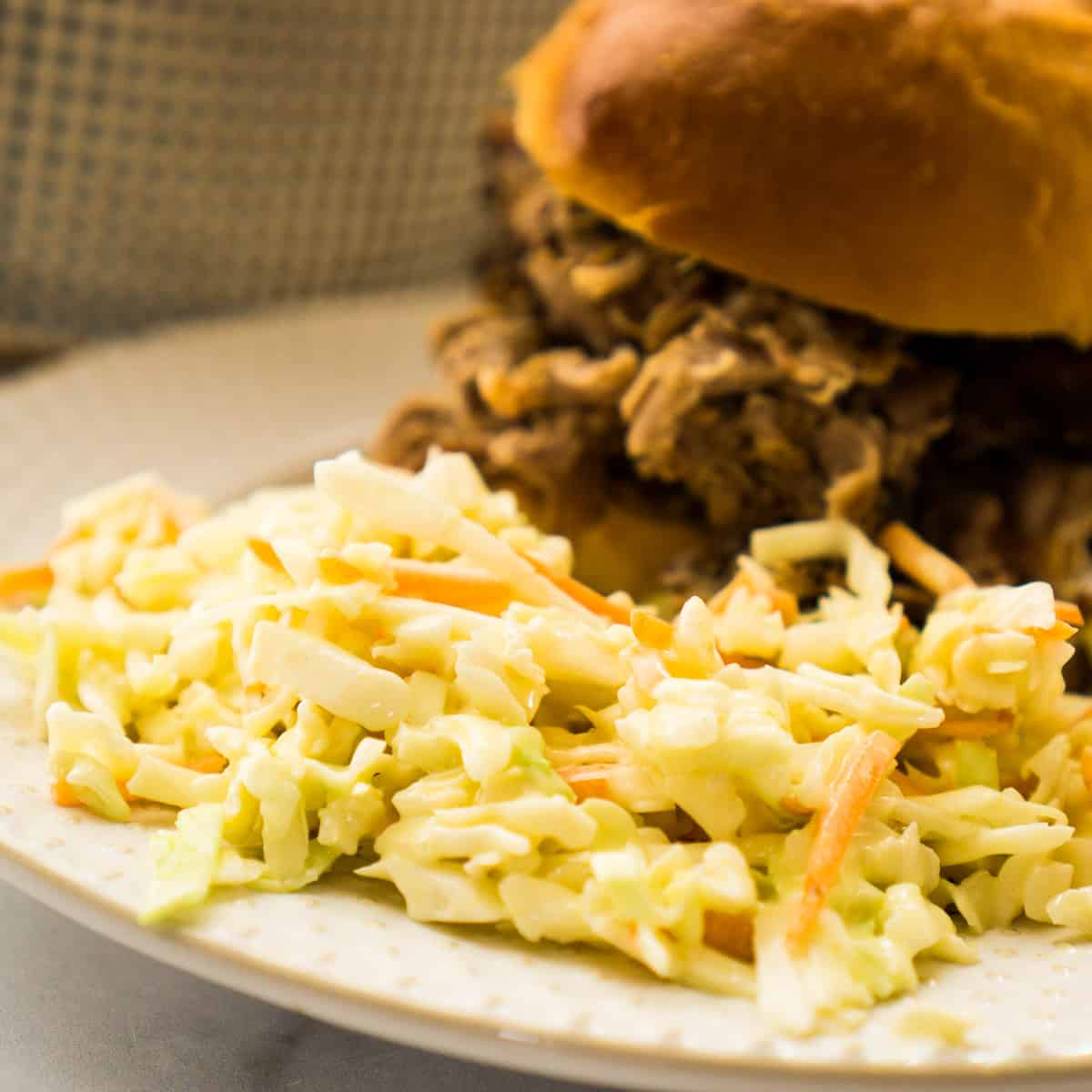 coleslaw and pork sandwich on white plate