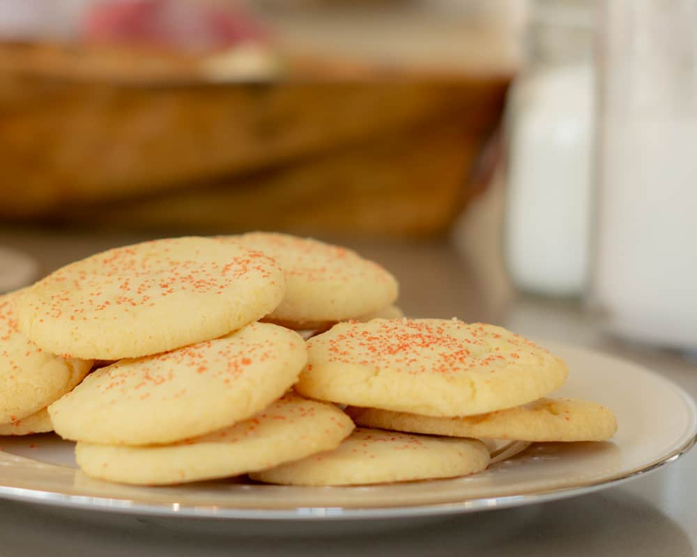 drop sugar cookies rolled in red sparkling sugar