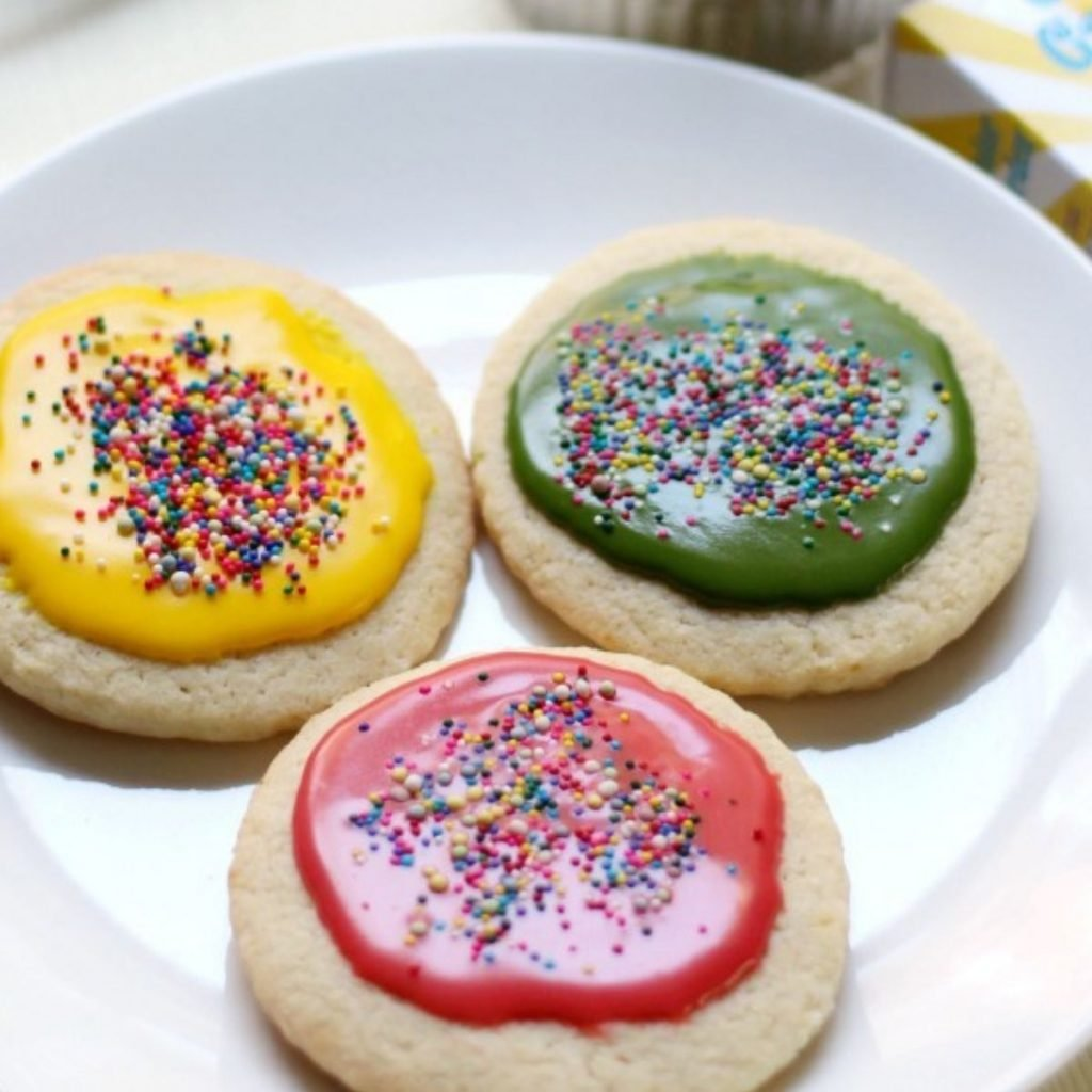 3 sugar cookies on white plate