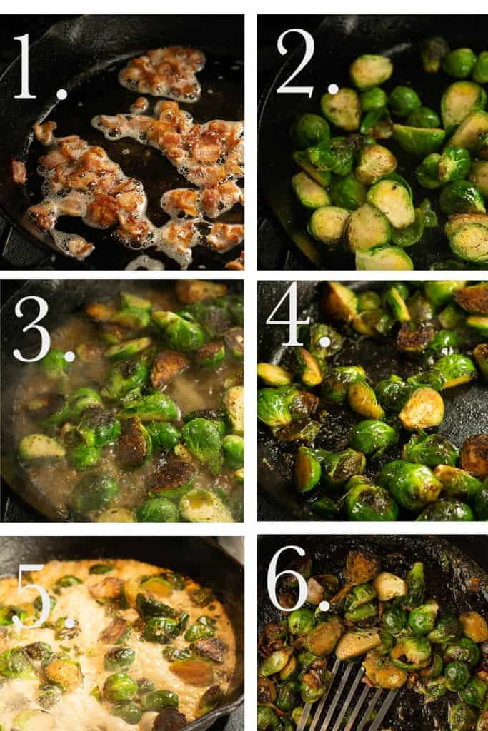 6 square process shots showing the cooking process for Brussel sprouts. 1. crumbled bacon 2. browned Brussels sprouts 3. Brussels sprouts with chicken stock 4. brussel sprouts cooked 5. Brussels sprouts with cream 6. finished Brussels sprouts
