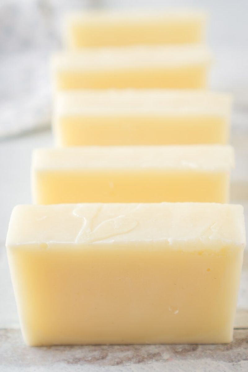 row of 6 bars of homemade body soap