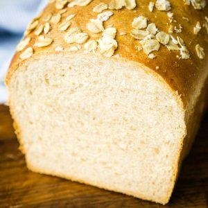loaf of oatmeal sandwich bread sliced