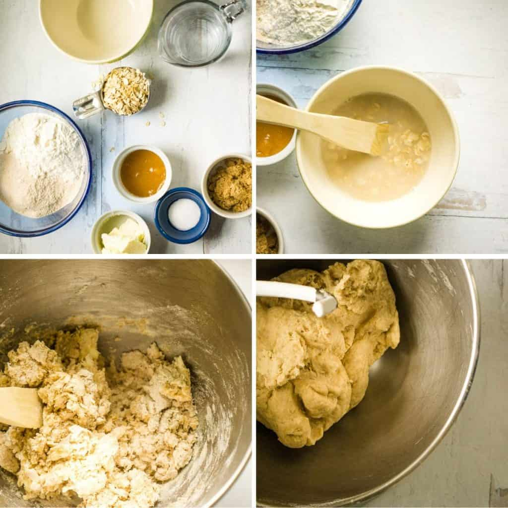 ingredients for bread, oatmeal soaking in hot water, dough being kneaded