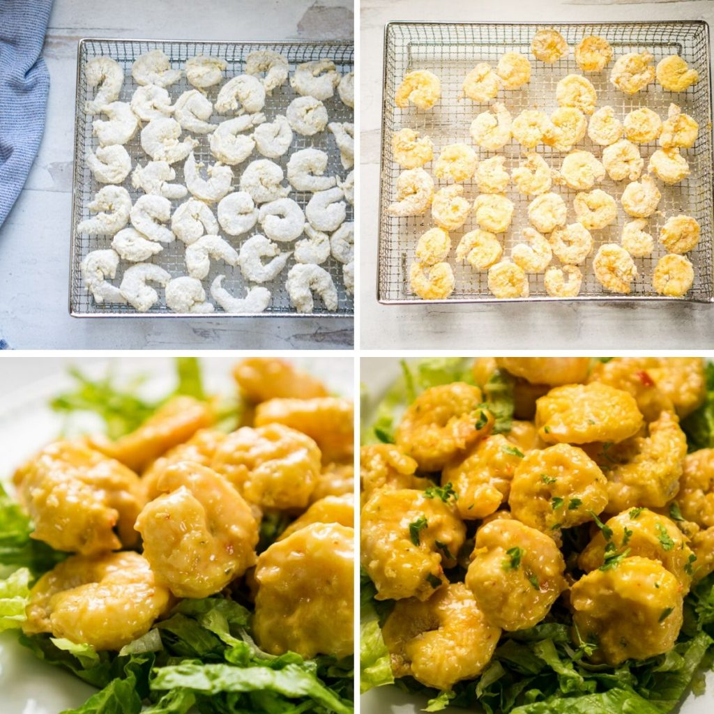process shots of air frying shrimp and tossing with sauce