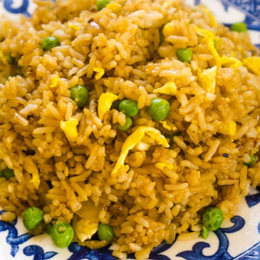 basic fried rice on blue and white plate