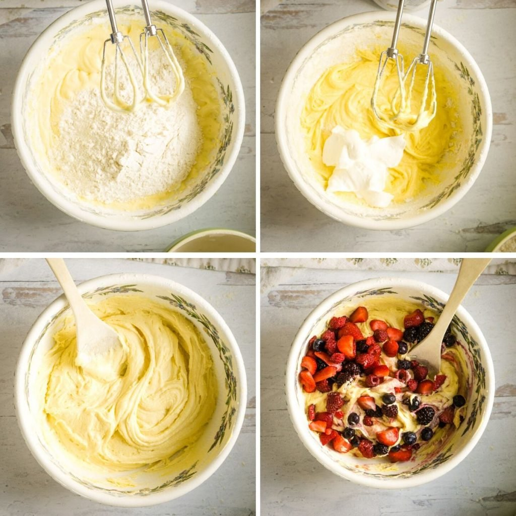 grid of 4 more process shots- adding dry ingredients, adding sour  cream, stirring batter, adding mixed berries