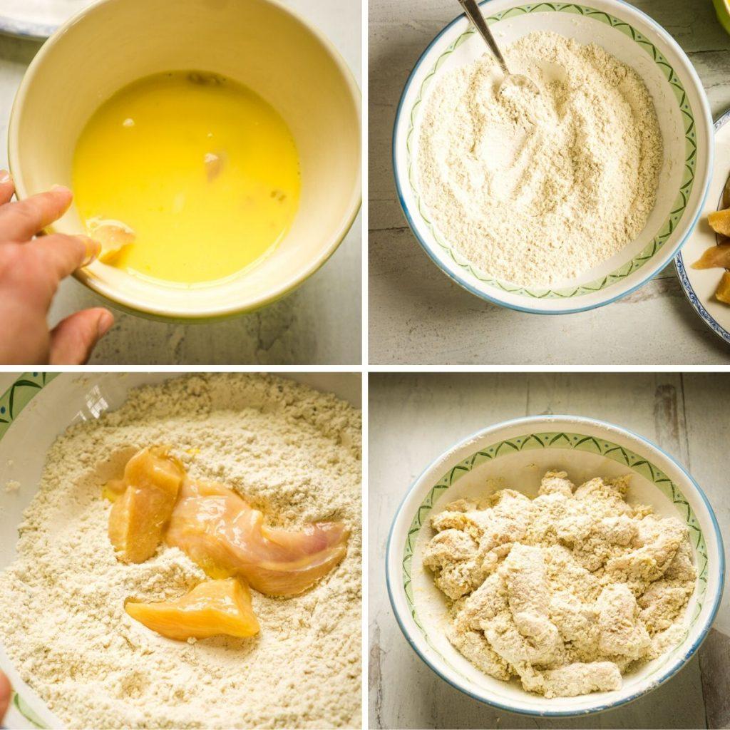 dipping chicken breast in egg/ milk, then seasoned flour