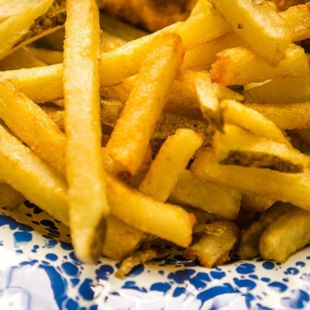 deep fried French fries on blue and white plate