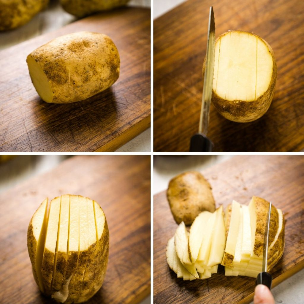 process of cutting russet potato into fries by hand