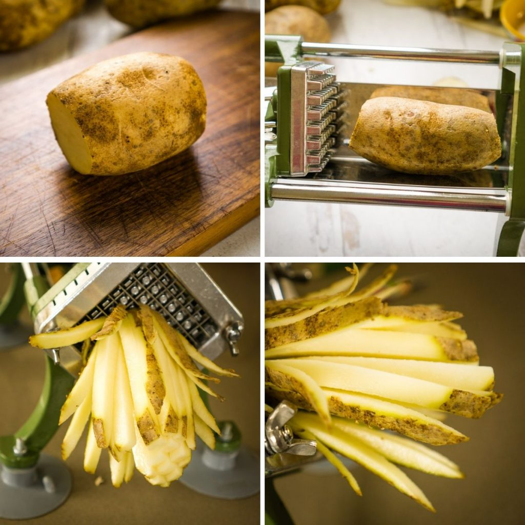 process of cutting russet potato with French fry cutter