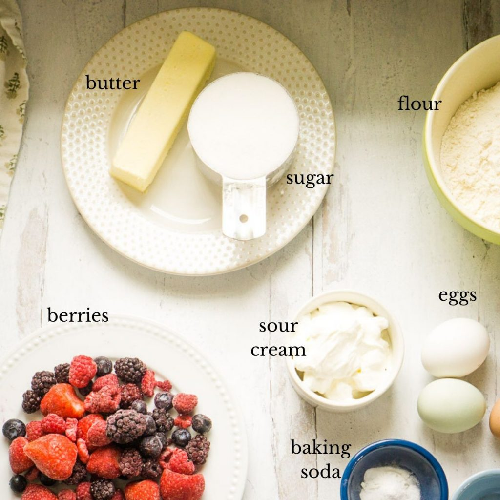 ingredients for mixed berry coffee cake