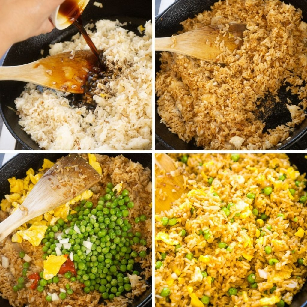 adding soy sauce, peas, and cooked egg to fried rice