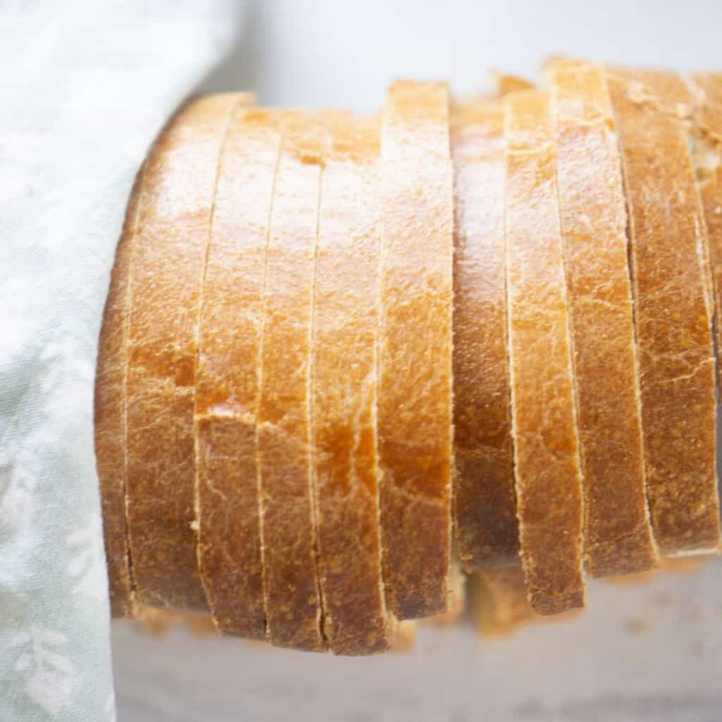 top crust of sourdough egg bread