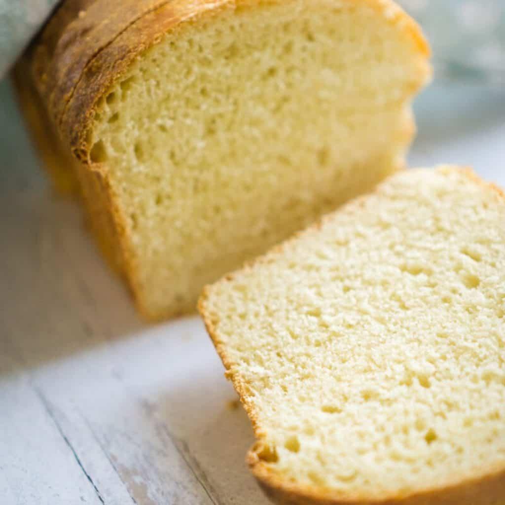 sliced loaf of sourdough egg bread