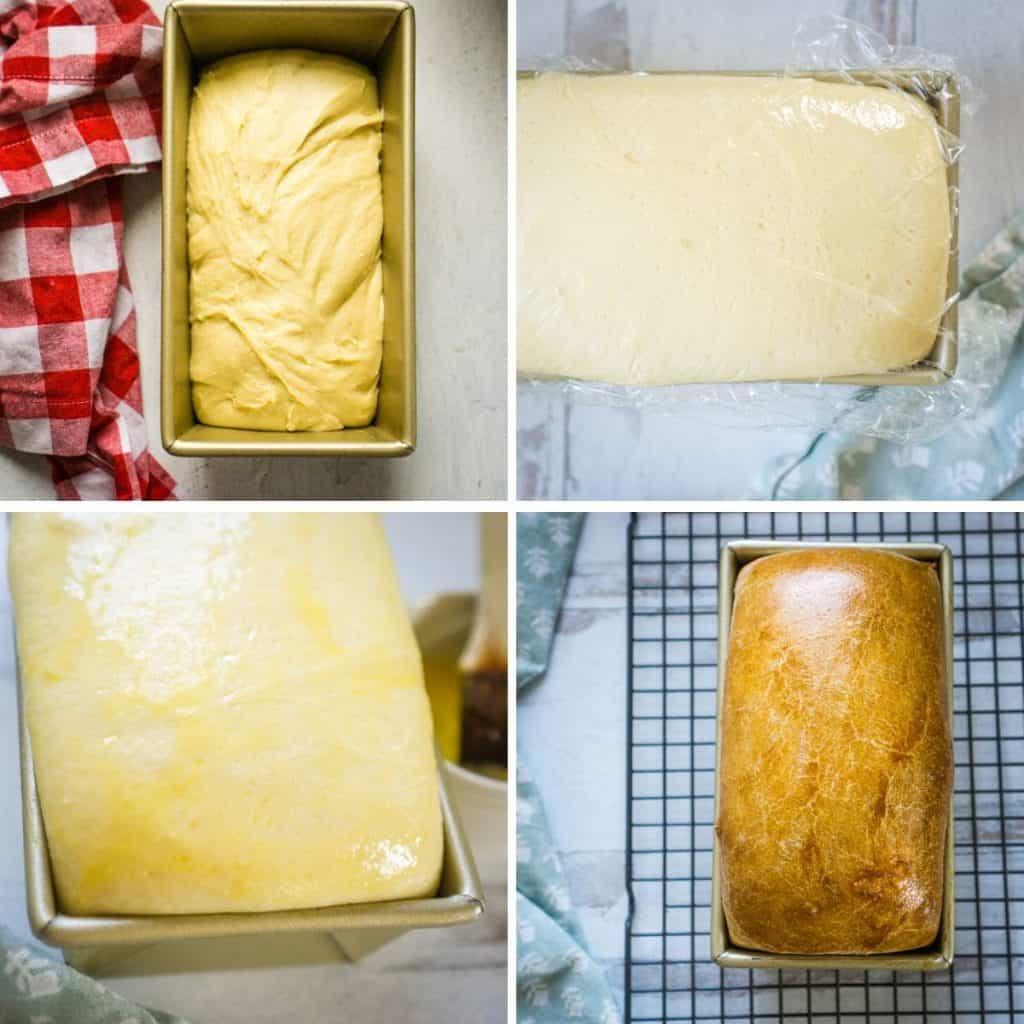 process shots of shaping, rising, and baking loaf