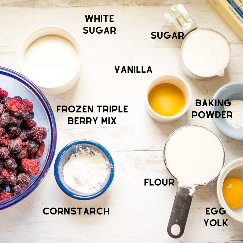cobbler ingredients in bowls on white surface