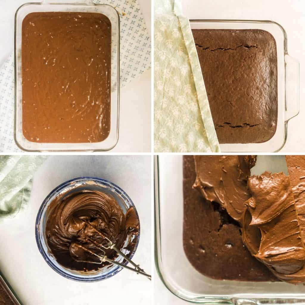 grid of 4 images, pouring batter into baking dish, fully baked chocolate cake,  making chocolate frosting, spreading iced on cake