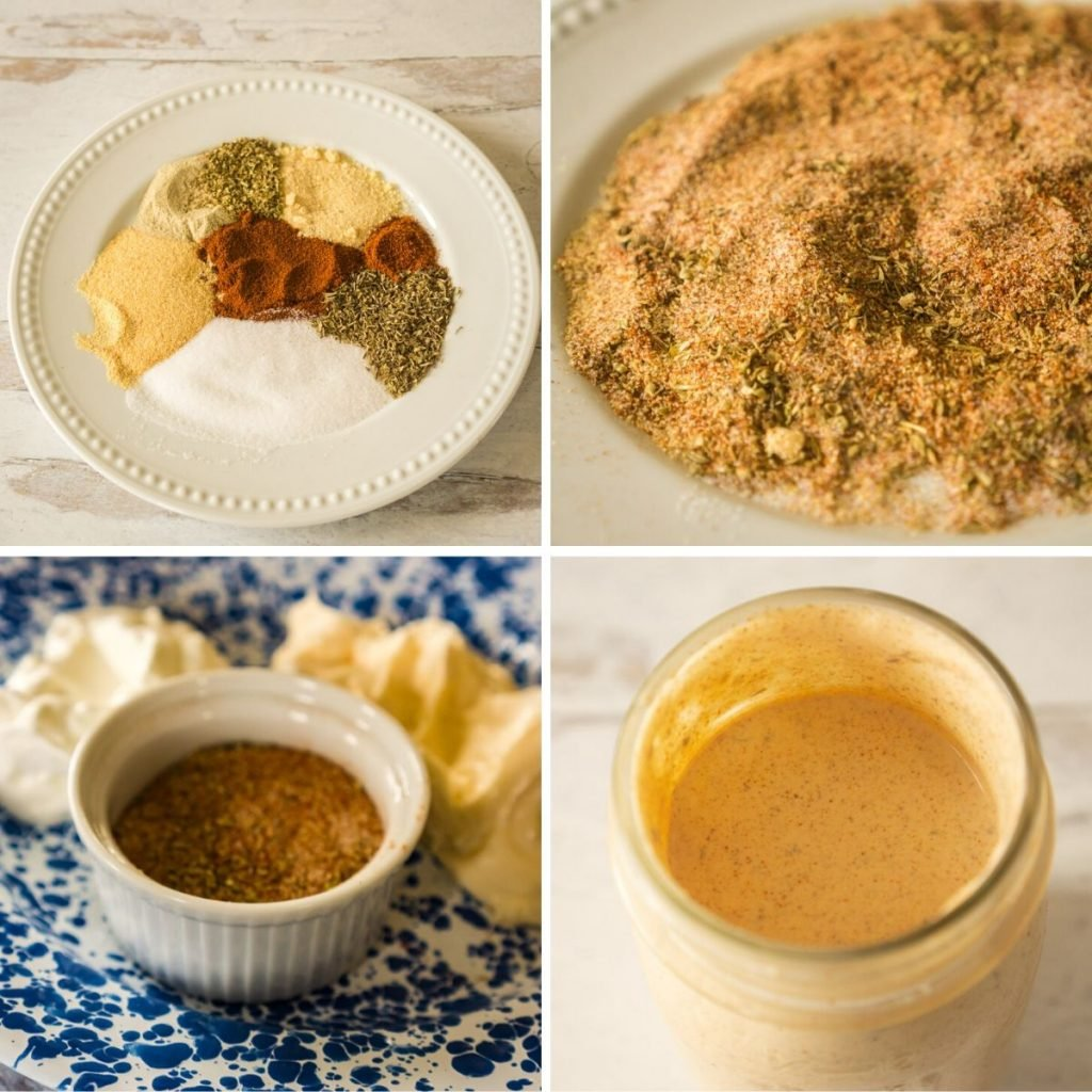 grid of 4 images showing spices, mayonaise and sour cream needed to make cajun ranch dressing