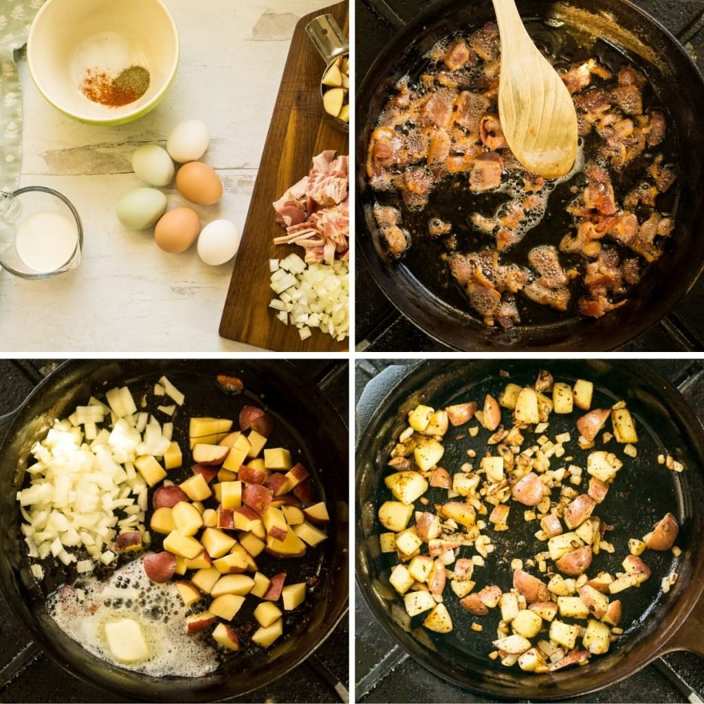 grid of 4 cooking images: cooking bacon, potatoes, and onion