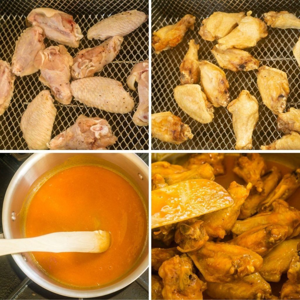 grid of wings being cooked, buffalo sauce on stovetop, and wings being tossed in sauce
