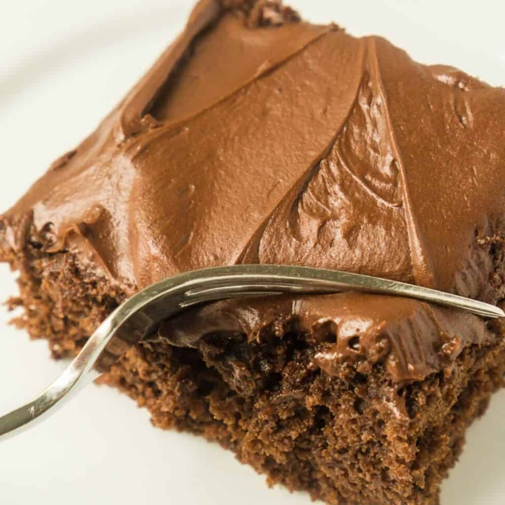 square slice of sourdough chocolate cake with fork cutting it