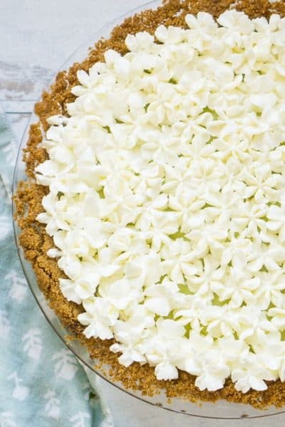 key lime pie covered in piped whipped cream