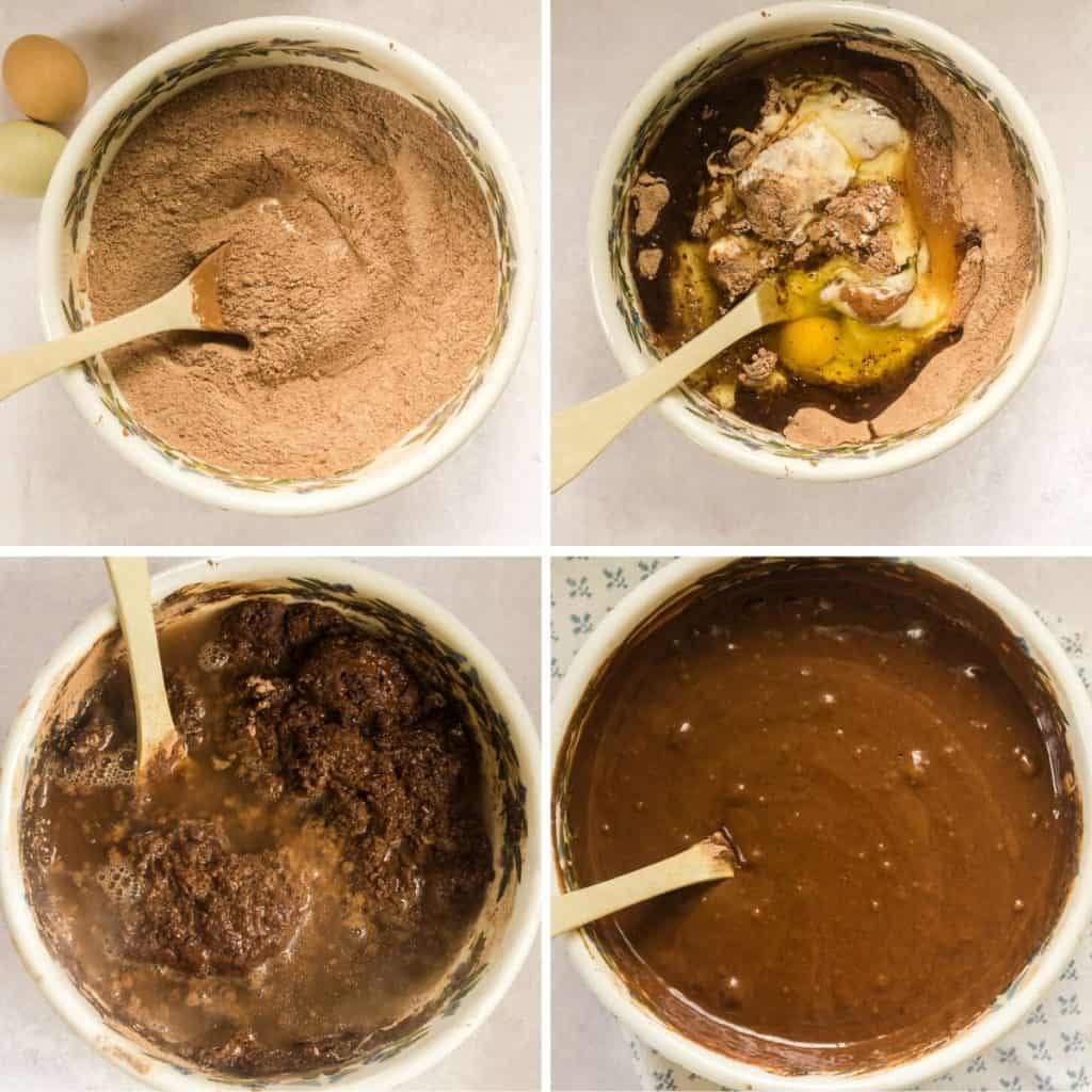 grid of 4 process shots- mixing dry ingredients, adding wet ingredients, mixing batter, pouring in hot water into cake batter
