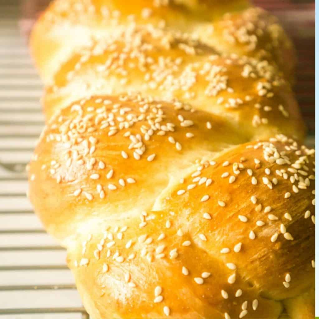 close up of Italian bread topped with sesame seeds