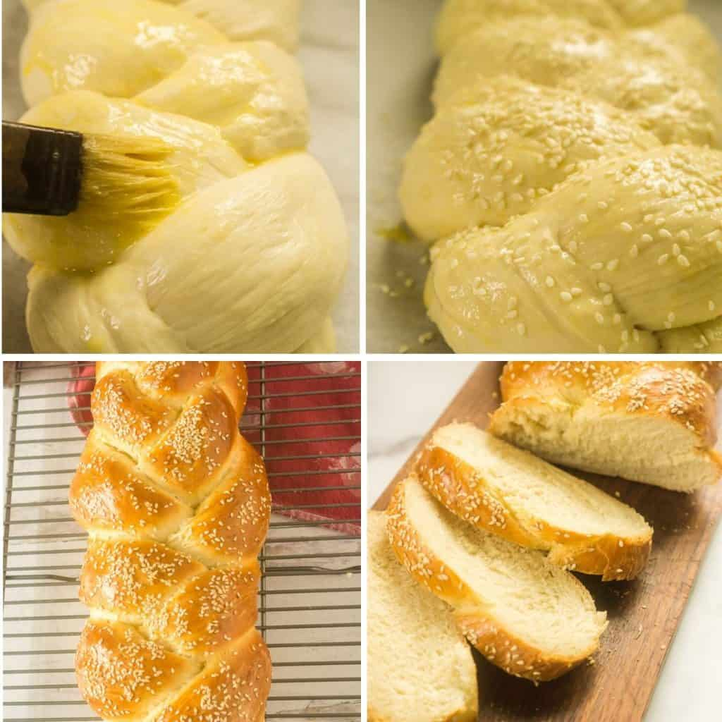 grid of 4 images: rising braided bread, brushing with egg wash adding sesame seeds