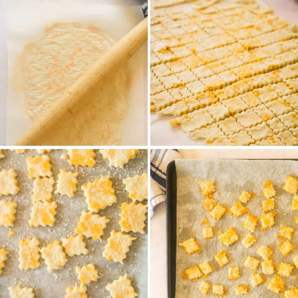 grid of 4 images: rolling out dough, cutting into squares, adding salt, fully baked sourdough crackers