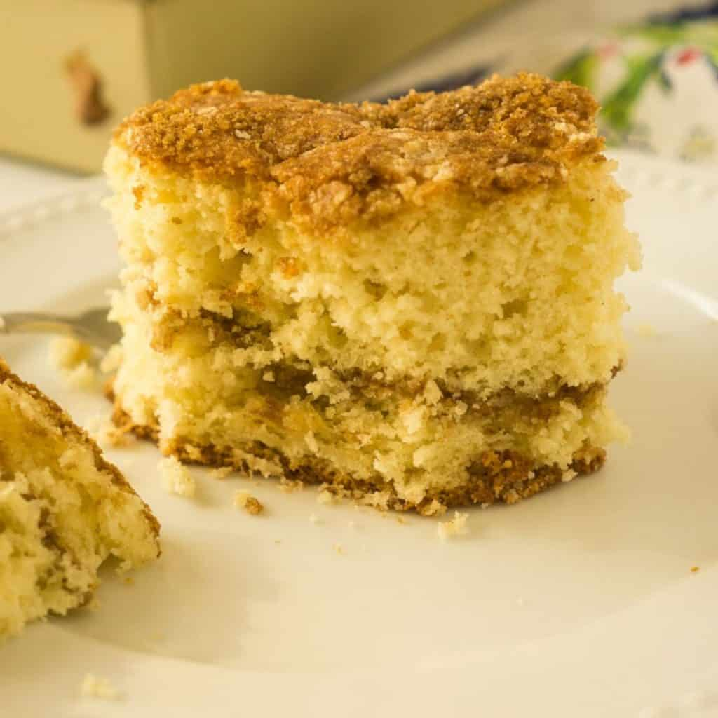 taking bite out of coffee cake