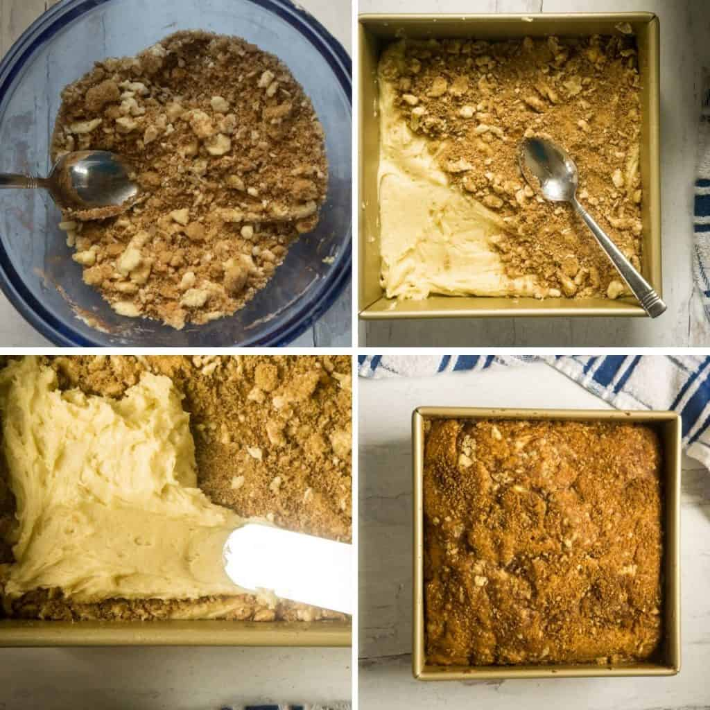 process shots of making streusel and layering in pan