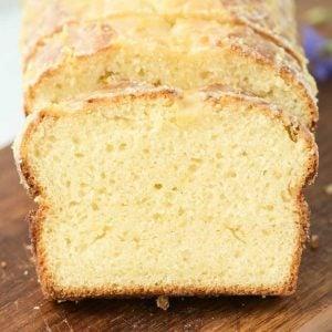close up view of sliced sourdough lemon pound cake