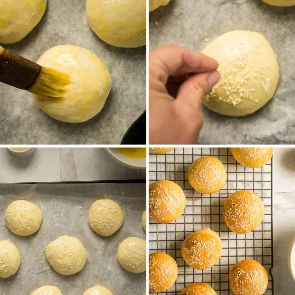 brushing buns with eggs, sprinkling on sesame seeds, baked buns